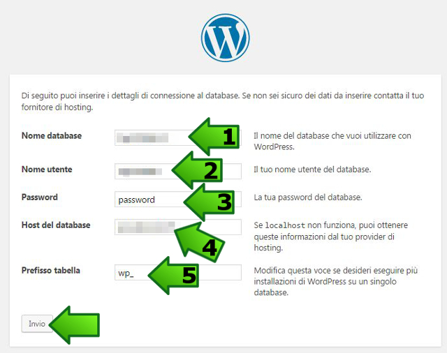 wordpress configurazione database